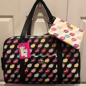 NWT Betsey Johnson Lips Weekender bag & wristlet